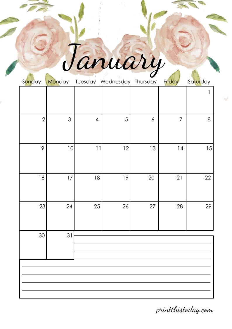January 2022 Floral Calendar