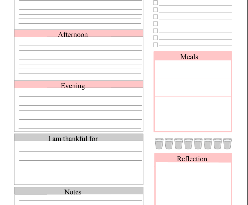Free Printable Daily Planner in Blush Pink Color