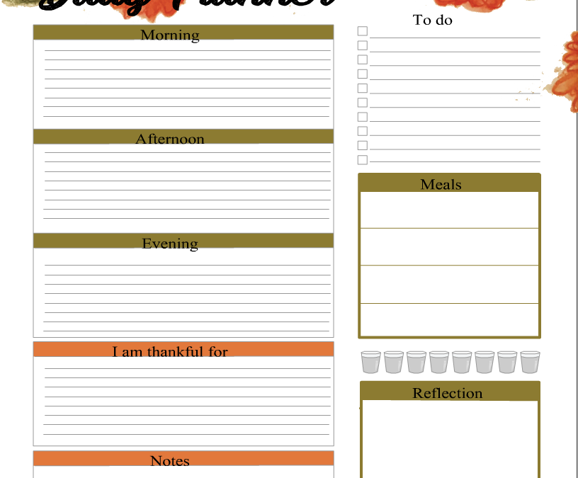 Daily Planner Page in Green and Orange Hues
