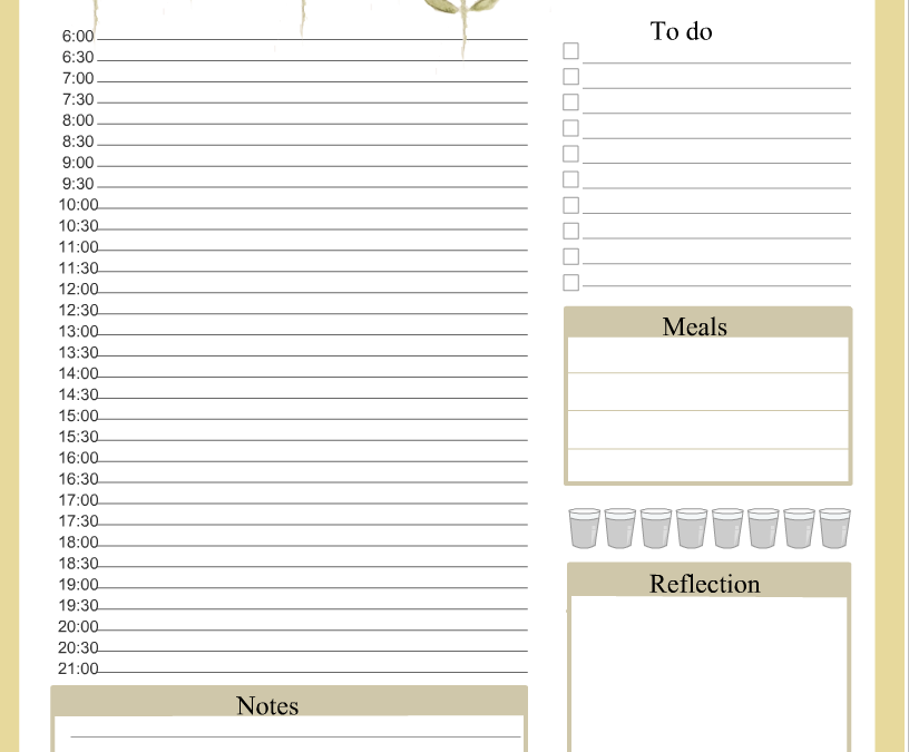 Free Daily Planner Printable in Yellow
