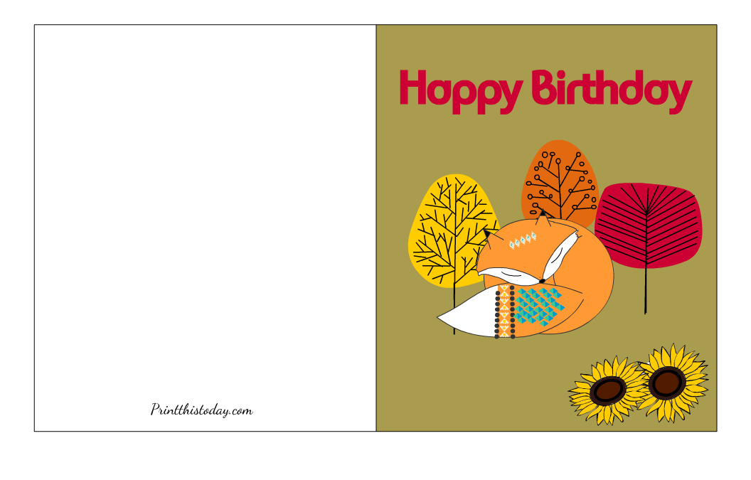 Free Printable Fall Birthday Card with image of a Cute Fox