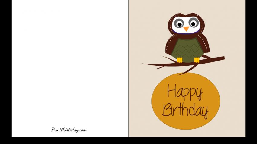 Free Printable Cute Owl Birthday Card