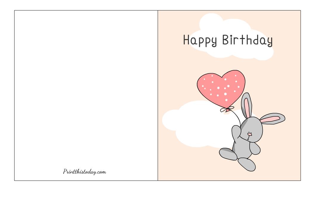 Free Printable Cute Rabbit Birthday Card