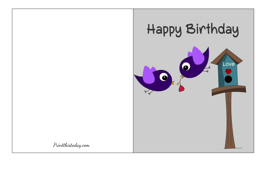 Free Printable Birthday Card with an image of birds