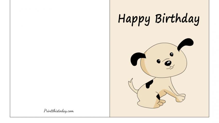 Cute Dog Happy Birthday Foldable Printable Card