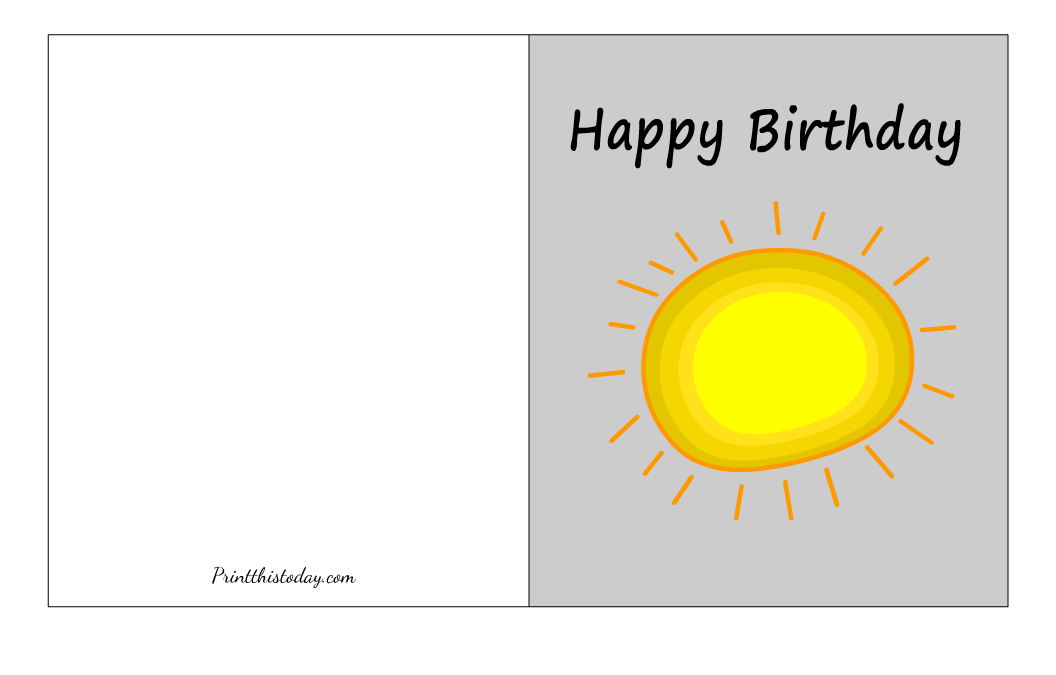 Cute Birthday Card with image of a Sun