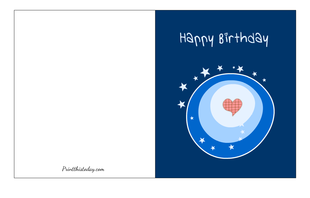 Free Printable Birthday Card with Stars and Heart