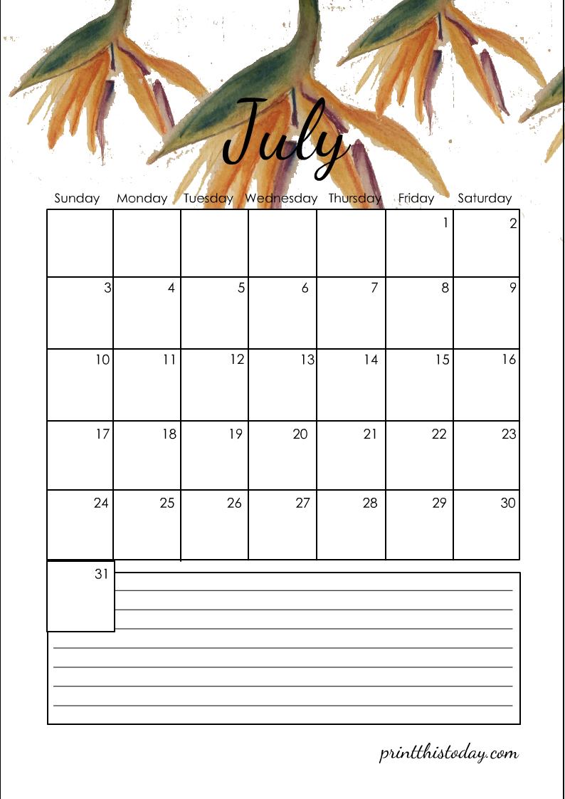 July 2022 Calendar Free Printable