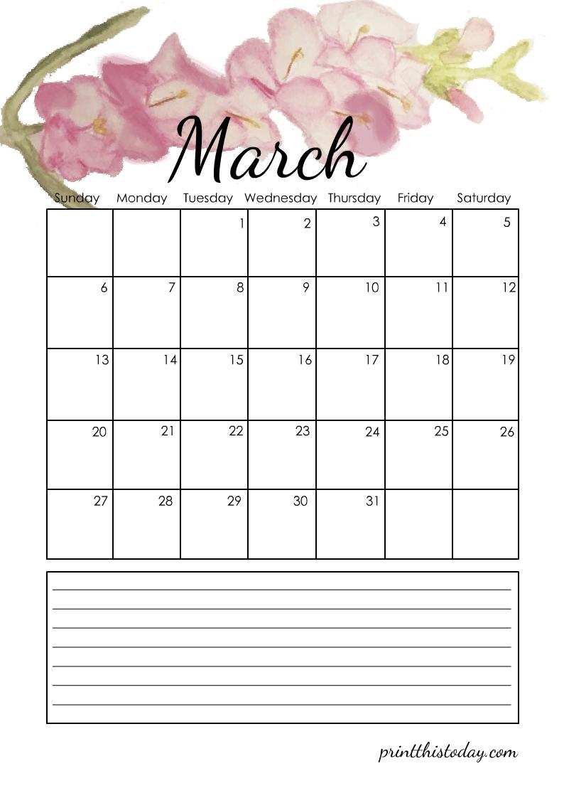 Printable A4 Calendar for March 2022