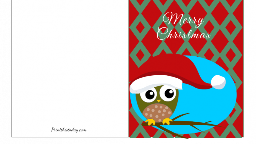 Free Printable Christmas Card with image of a Cute Owl