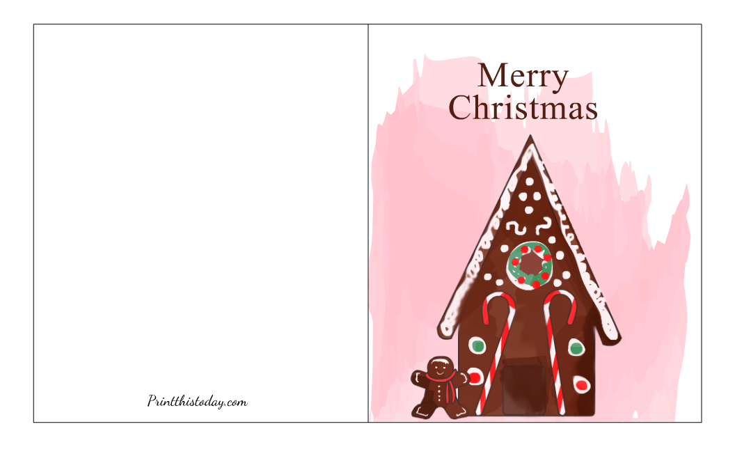 Christmas Card with image of a Gingerbread House