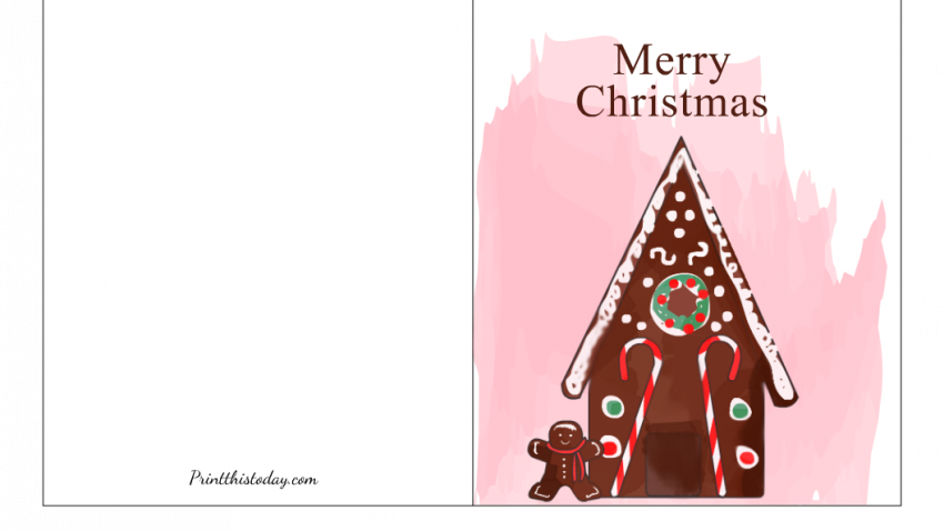 Christmas Card with image of a Ginger-bread HouseChristmas Card with image of a Ginger-bread House