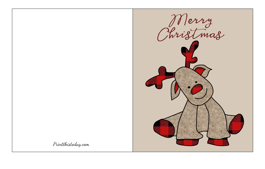 Free Printable Christmas Card with an image of Rudolph