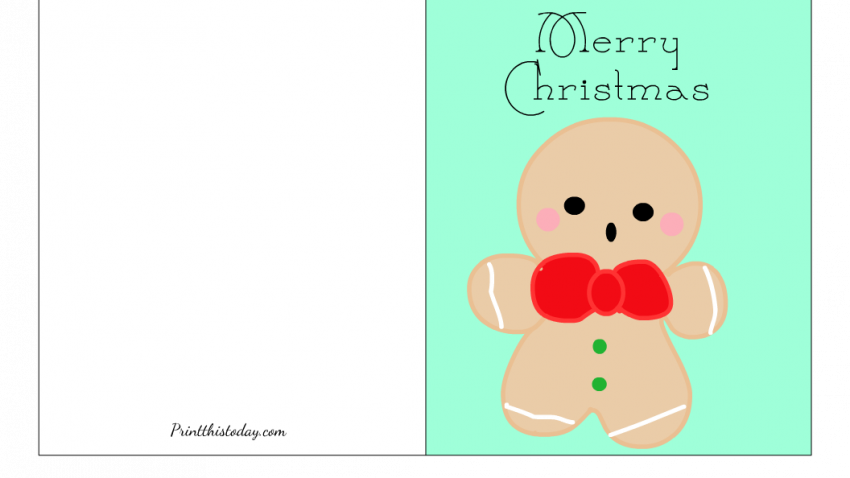Free Printable Christmas card with a Gingerbread man