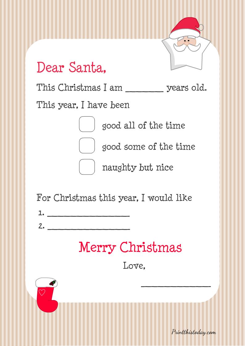 Letter to Santa and Christmas Wish List Printable