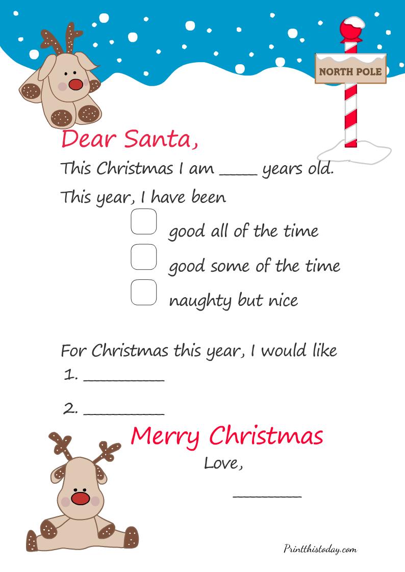 Free Printable Letter to Santa Template for Christmas